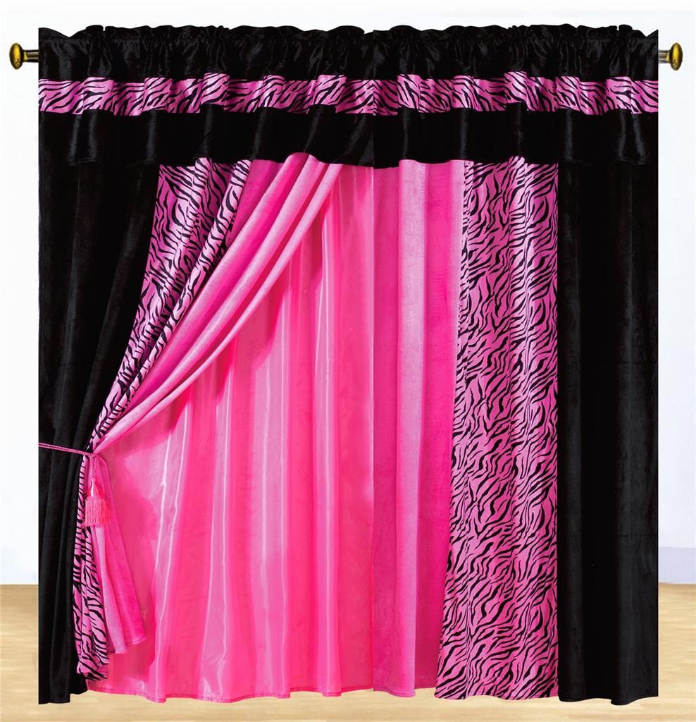 Hot pink zebra curtains - Safarina Drapes Pink Black Zebra Animal Valance Pink Curtains Sets