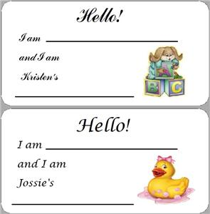 10 PERSONALIZED BABY SHOWER NAME TAGS FAVOR LABELS