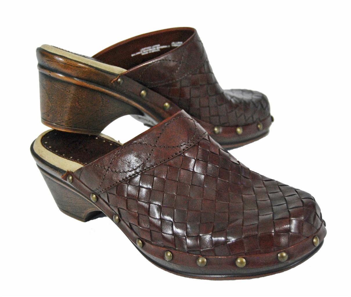 NEW-BASS-WOMENS-JILLIAN-BROWN-LUGGAGE-WOVEN-LEATHER-CLOGS-MULES-SHOES