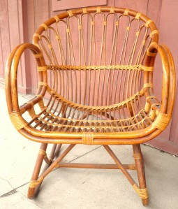 vintage rattan bamboo settee lounge chair table outdoor indoor patio