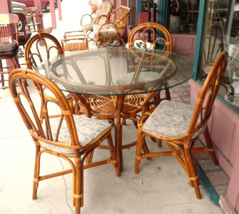 antique 6pc rattan bamboo dinning table outdoor indoor patio furniture