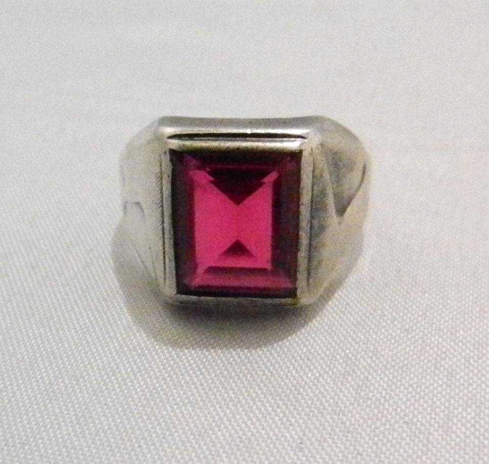 Vintage Mens Sterling Silver Lab Created Ruby Emerald Cut Ring