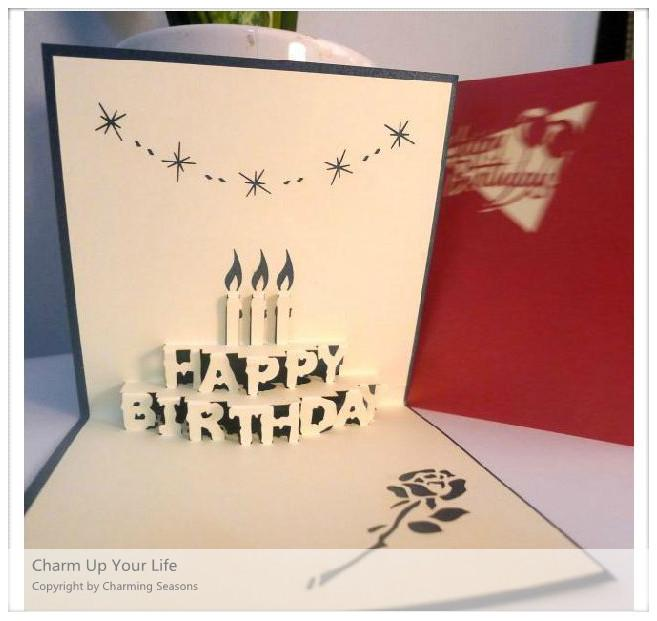 Origami Handcrafted 3D Greeting Card Birthday With Candles