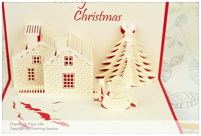 Origami handcrafted 3d greeting card merry christmas tree for 3d xmas cards to make