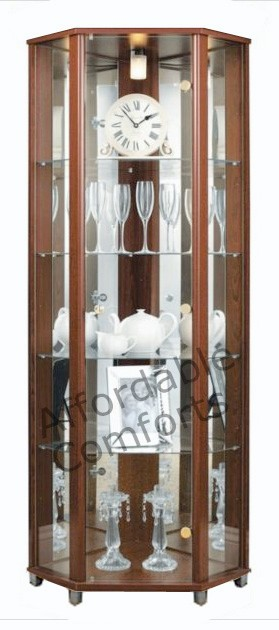 Corner-Glass-Display-Cabinet-Beech-Silver-Wenge-Black-White-Oak-Mahogany