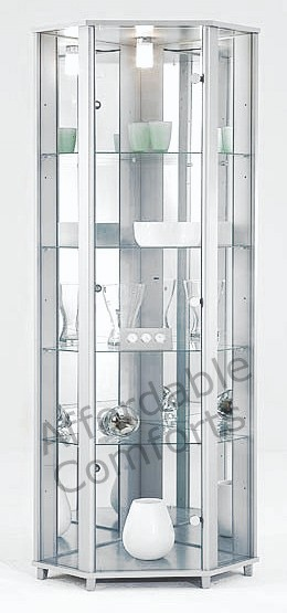Single-Double-Corner-Black-or-White-Glass-Display-Cabinet