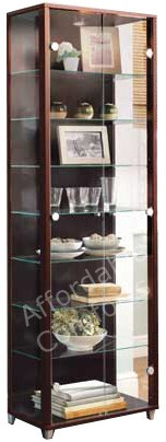 Double-Door-Glass-Display-Cabinet-Unit-Beech-Silver-Wenge-Oak-White-Black
