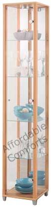Single-Glass-Display-Cabinet-Unit-Beech-Silver-Black-White-Wenge-or-Oak