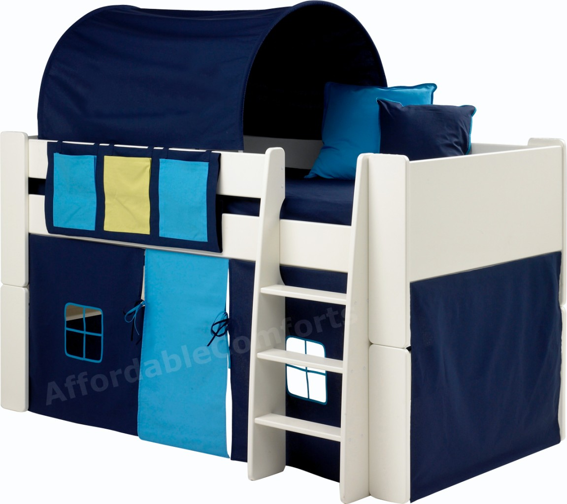 White-Wood-Childrens-Cabin-Bed-Bunk-Bed-Mid-sleeper-Tent-Camp-Blue-or-Pink