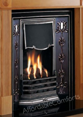 Black Cast Iron Fireplace With Tiles Fire Surround Open