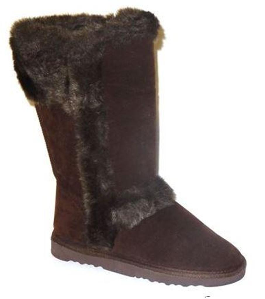 womens mid calf pull on winter boots faux fur trim