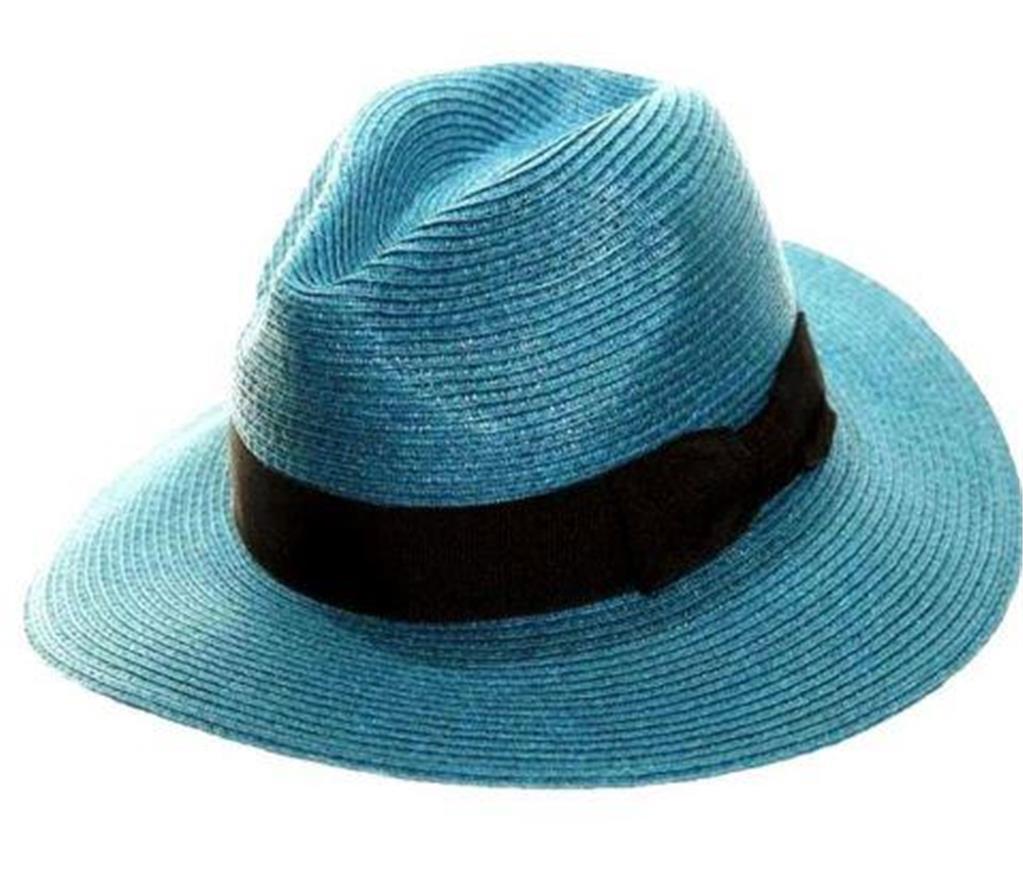 womens straw trilby fedora summer sun hat medium brim
