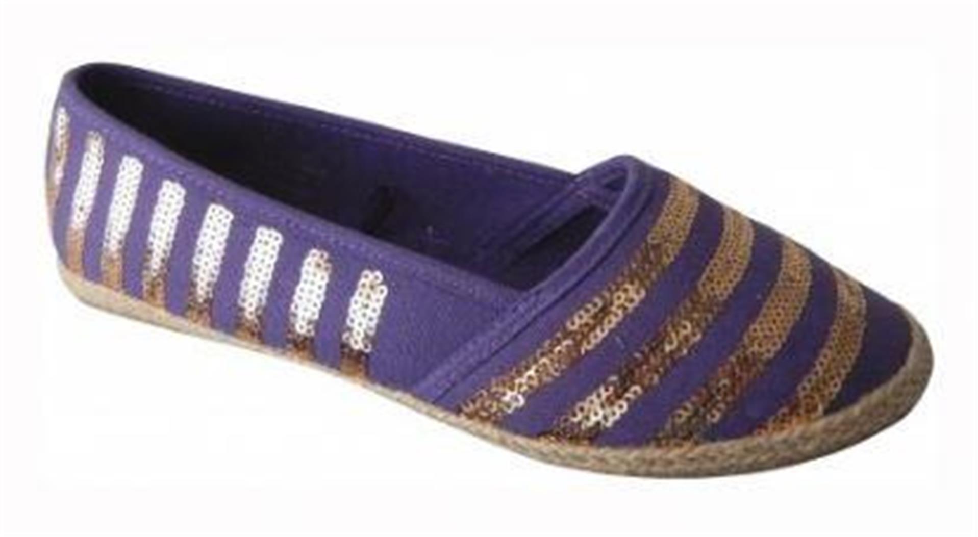 Alpargatas para mujer plana Resbalón en Zapatos de lona bombas Plimsoles Playa Cubierta UK 3-8