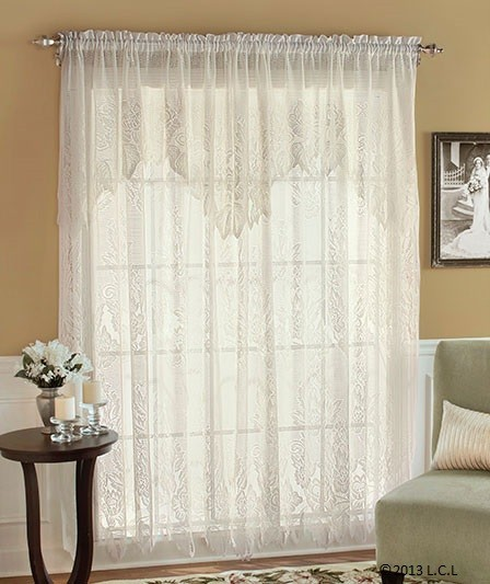 """Lace Curtain with Attached Valance - IVORY - 63"""" or 84"""" Panels - Easy to Install"""