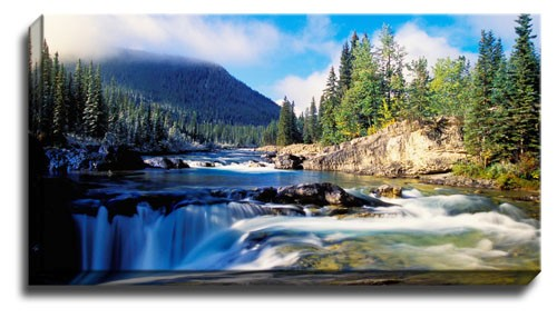 Image Is Loading NEW MOUNTAIN WATERFALL LANDSCAPE CANVAS WALL ART PICTURE