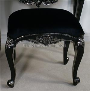 Salon dressing table stool mirror black silver for Salon table and mirror