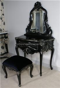 Salon dressing table stool mirror black silver for Beauty parlour dressing table images