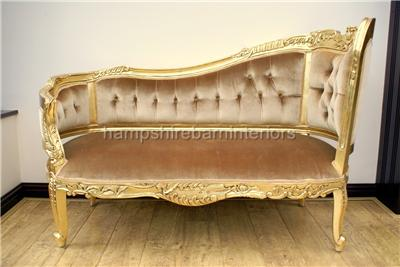 Gold leaf velvet chaise longue lounge sofa ornate small for Chaise longue sofa bed ebay
