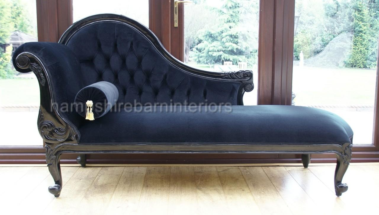 Chelsea chaise longue single ended black velvet sofa for Black velvet chaise longue