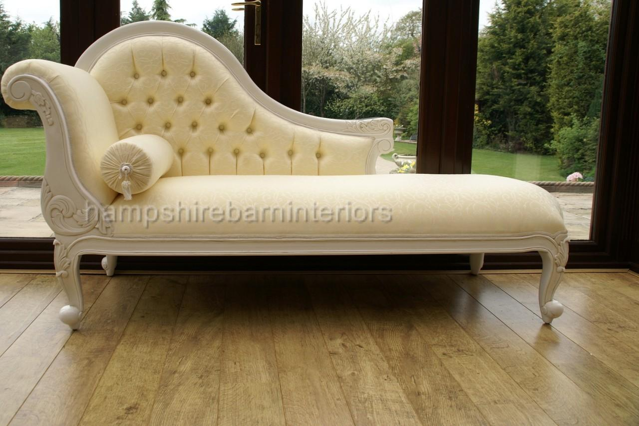 Chelsea antique white chaise longue single ended sofa ebay for Antique chaise longue ebay