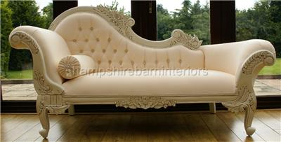 French style chaise longue antique white cream sofa ebay for Antique chaise longue ebay