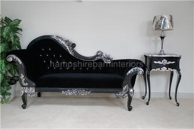 R french louis style medium size black silver diamond for Black and silver chaise longue