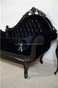 Black velvet rococo ornate silver chaise longue diamond - Changer toile chaise longue ...