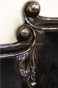 Knightsbridge chaise longue lounge sofa in silver leaf and for Black and silver chaise longue