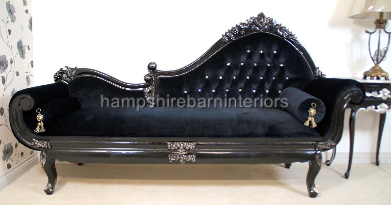 black velvet rococo ornate silver chaise longue diamond button free delivery ebay. Black Bedroom Furniture Sets. Home Design Ideas