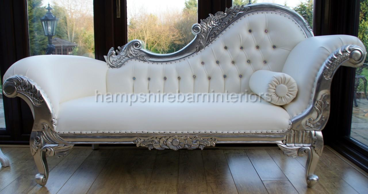 Ornate chaise longue lounge sofa silver leaf white faux for Baroque chaise lounge sofa