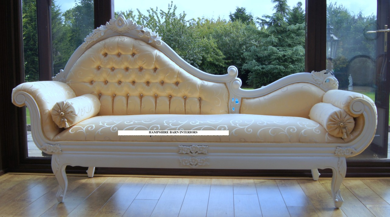 Ornate large french style antique white chaise longue pale for Large chaise longue