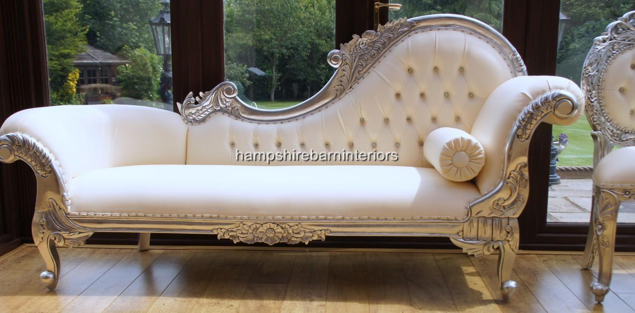 Ornate silver chaise longue faux white cream leather for Chaise longue for sale uk