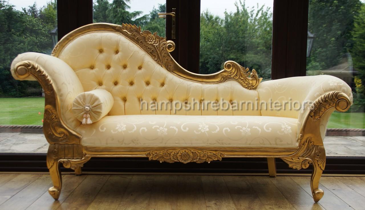 Ornate medium french style medium chaise longue gold free for Chaise longue lounge