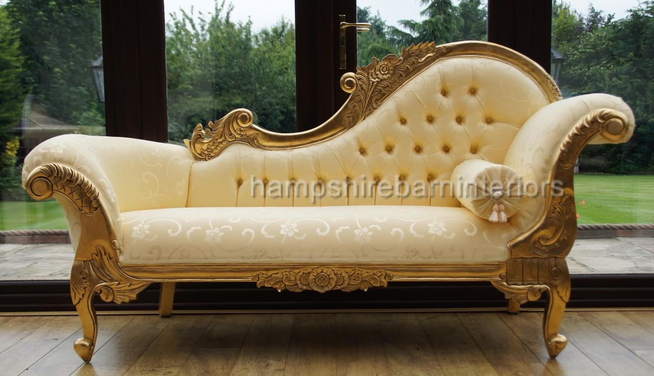 Ornate medium french style medium chaise longue gold free for Chaise longue style sofa