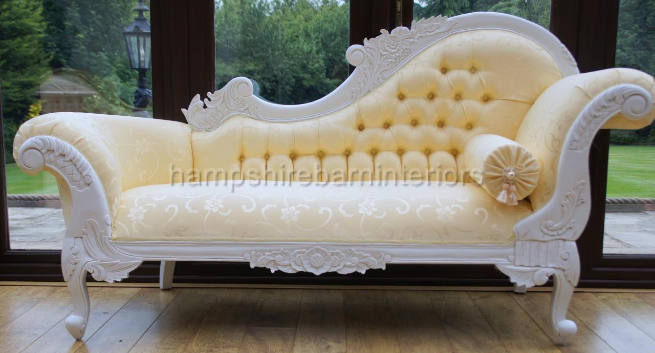 White ornate medium french style gold chaise longue free for Chaise longue style sofa