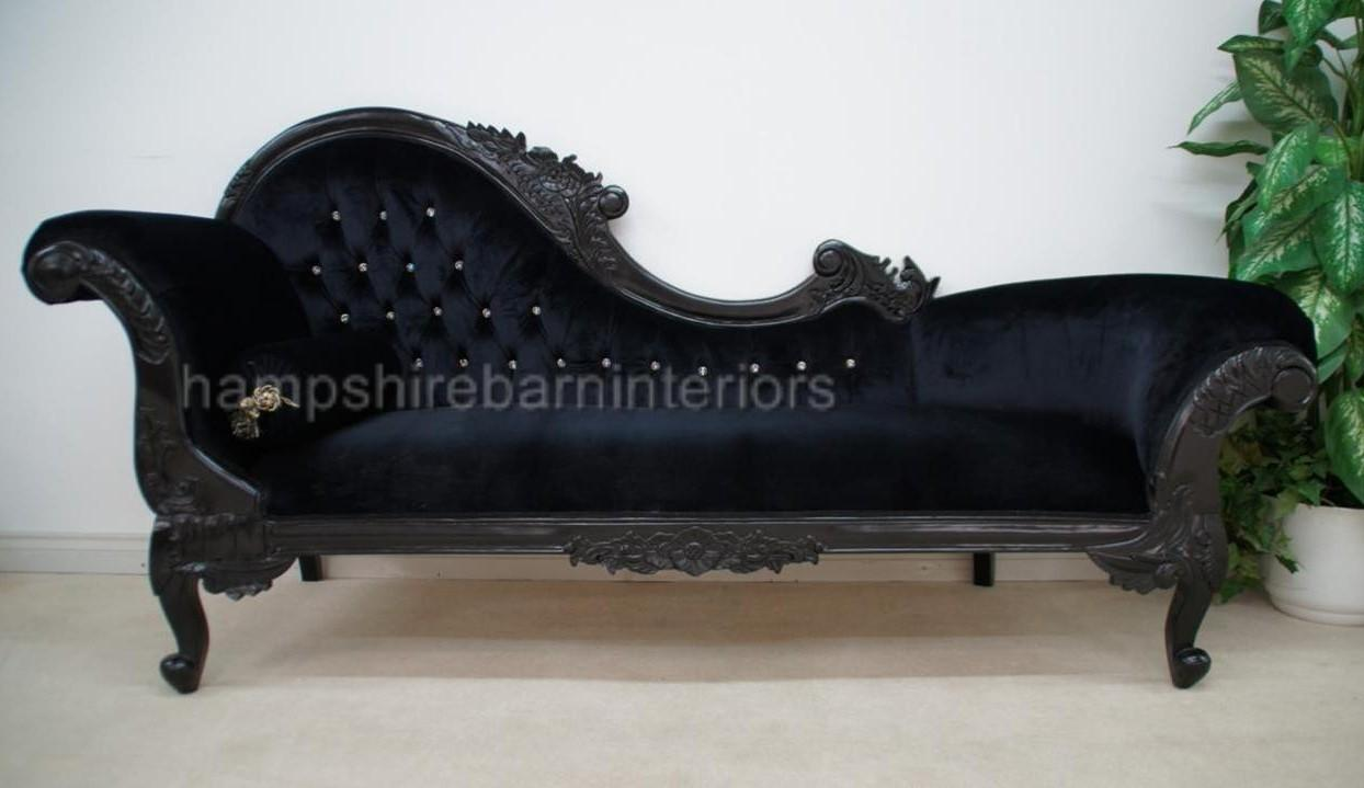 Large ornate french black velvet crystal chaise longue for Black chaise lounge sofa