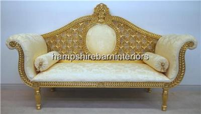 Gold leaf ornate sofa wedding stage home events hand for Chaise couches for sale