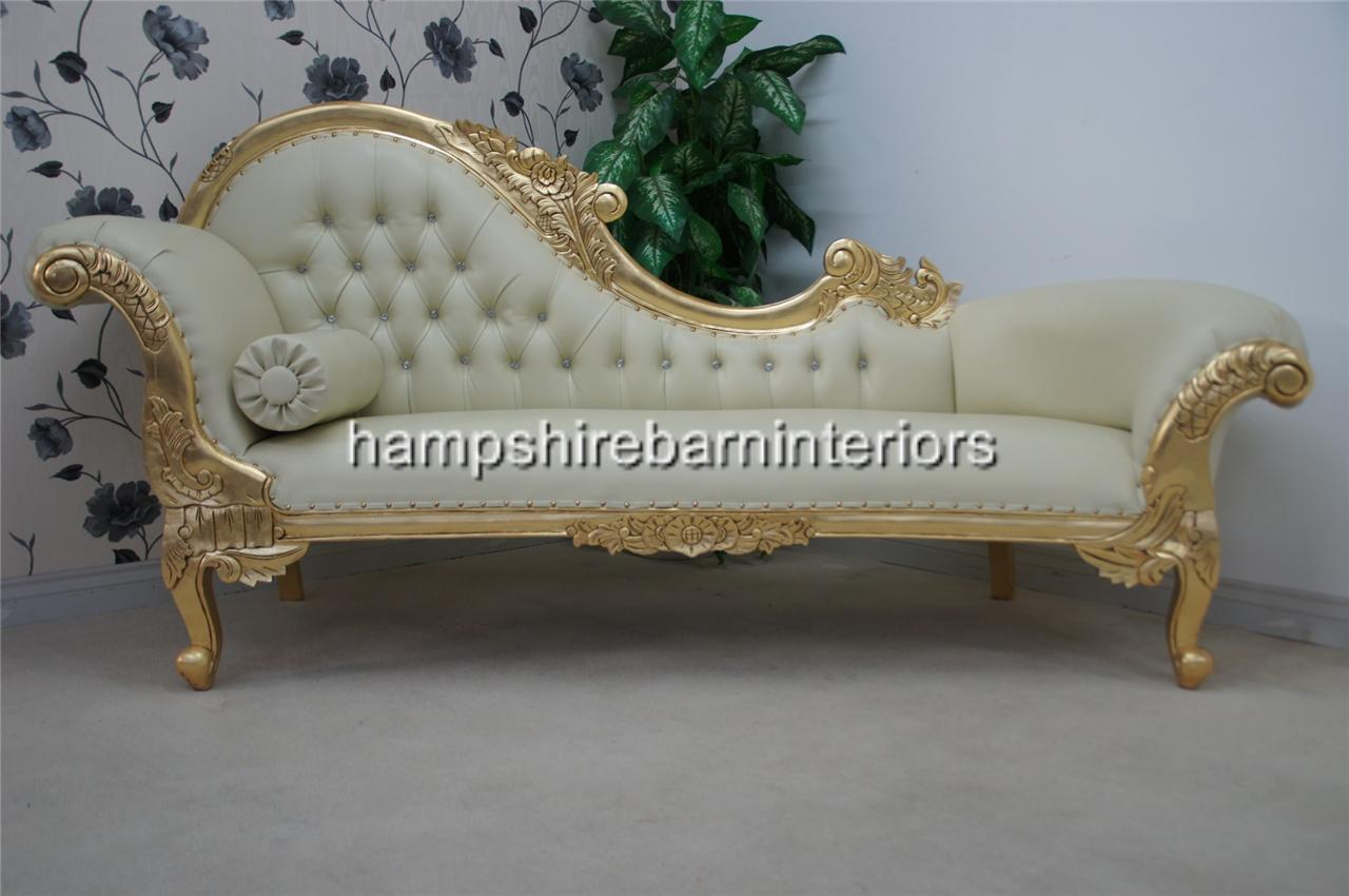 Ornate Chaise Longue Large Gold Cream Faux Leather Lounge Sofa  ~ Large Chaise Lounge Sofa