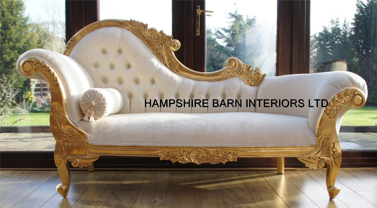 Chaise longue ornate gold leaf ivory fabric lounge sofa for Chaise longue lounge