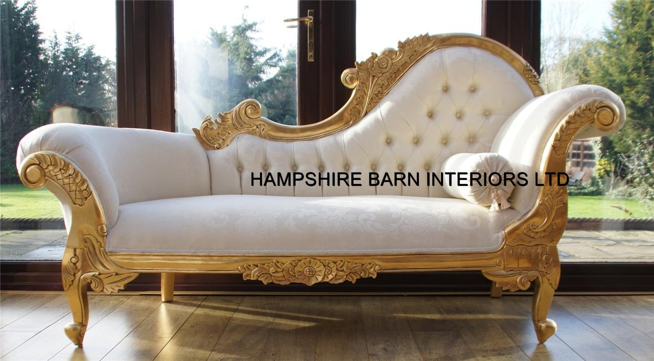 Chaise longue ornate gold leaf ivory fabric lounge sofa for Chaise longue style sofa