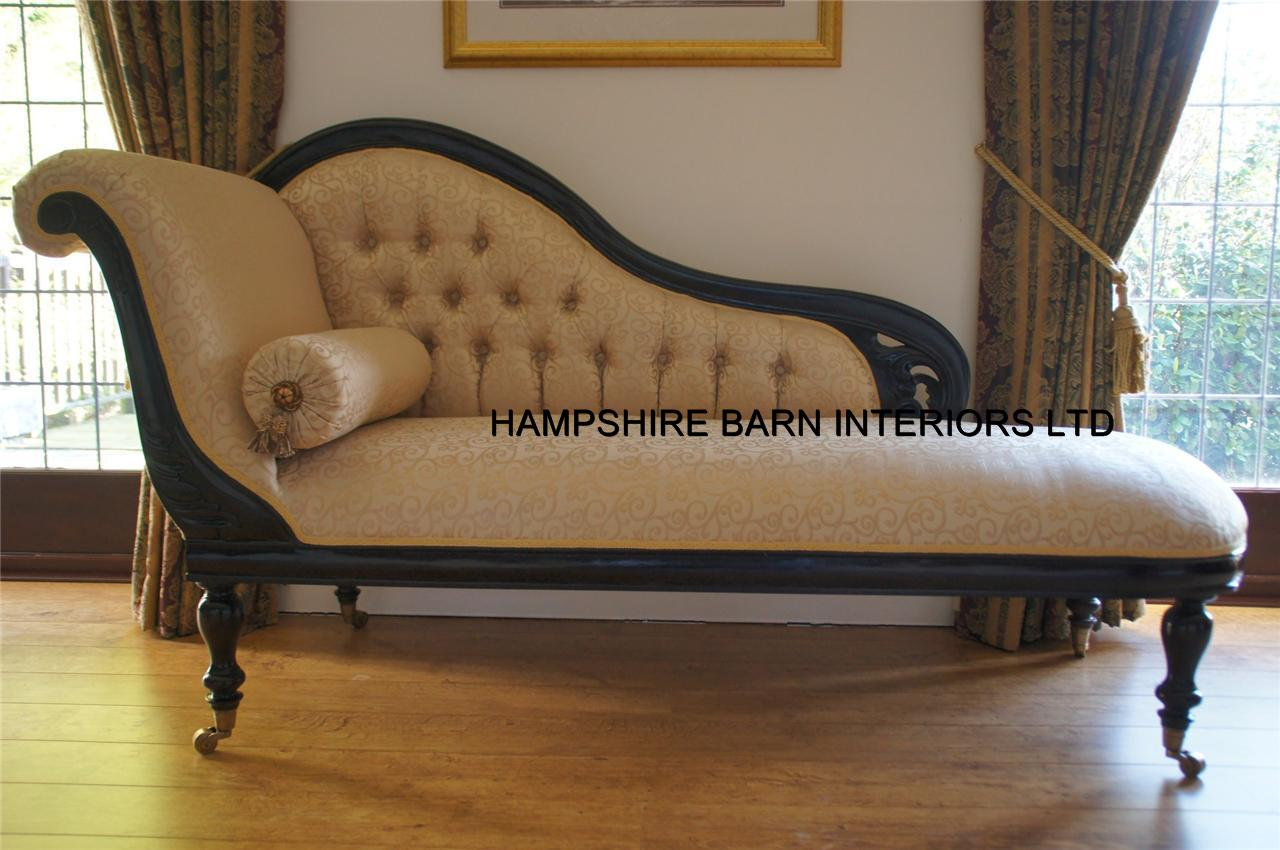 Antique replica chaise longue victorian style mahogany for Antique chaise lounge