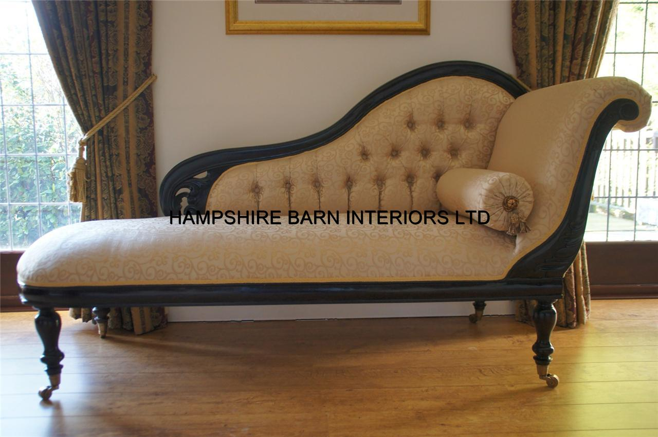 Antique replica chaise longue victorian style mahogany for Antique style chaise lounge