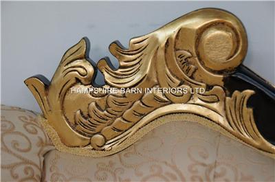 Chaise Longue Large Ornate Mahogany w Gold Cream Lounge Sofa French Style