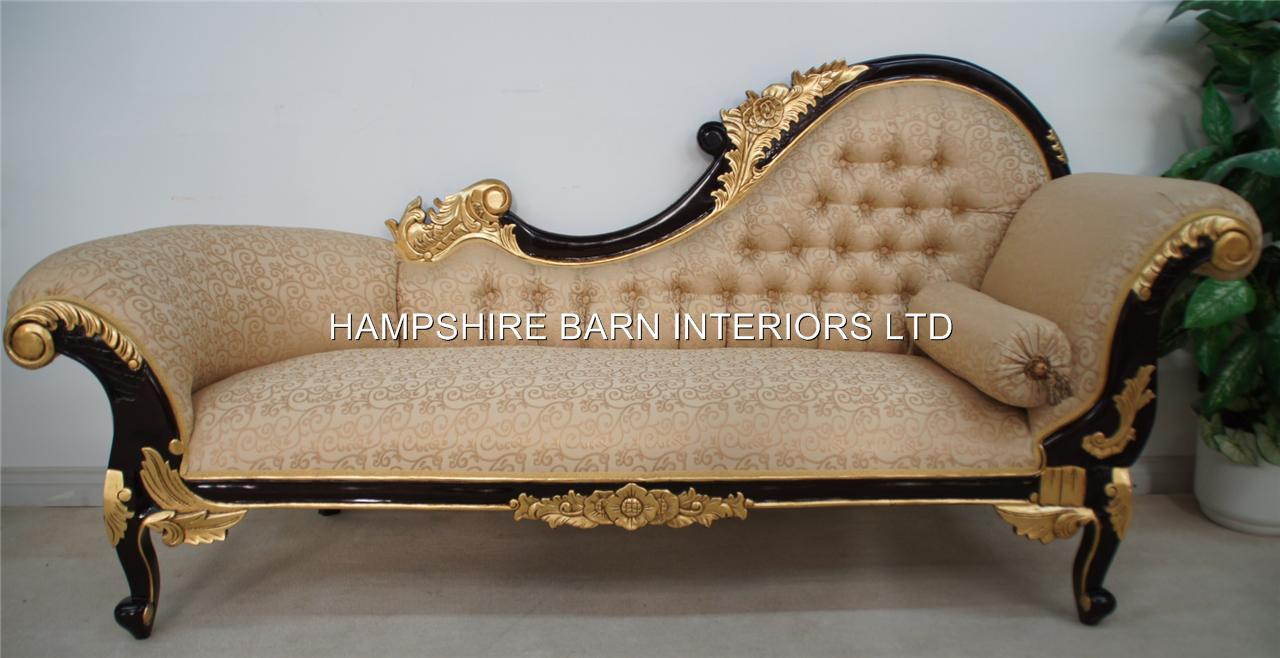 Chaise longue large ornate mahogany w gold cream lounge for Chaise longue style sofa