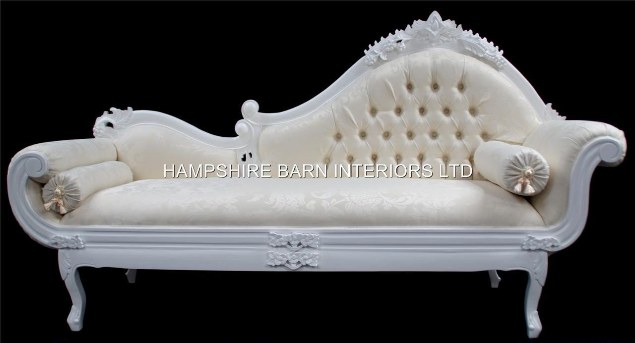 White large french ornate chaise longue sofa event home for Chaise longue salon