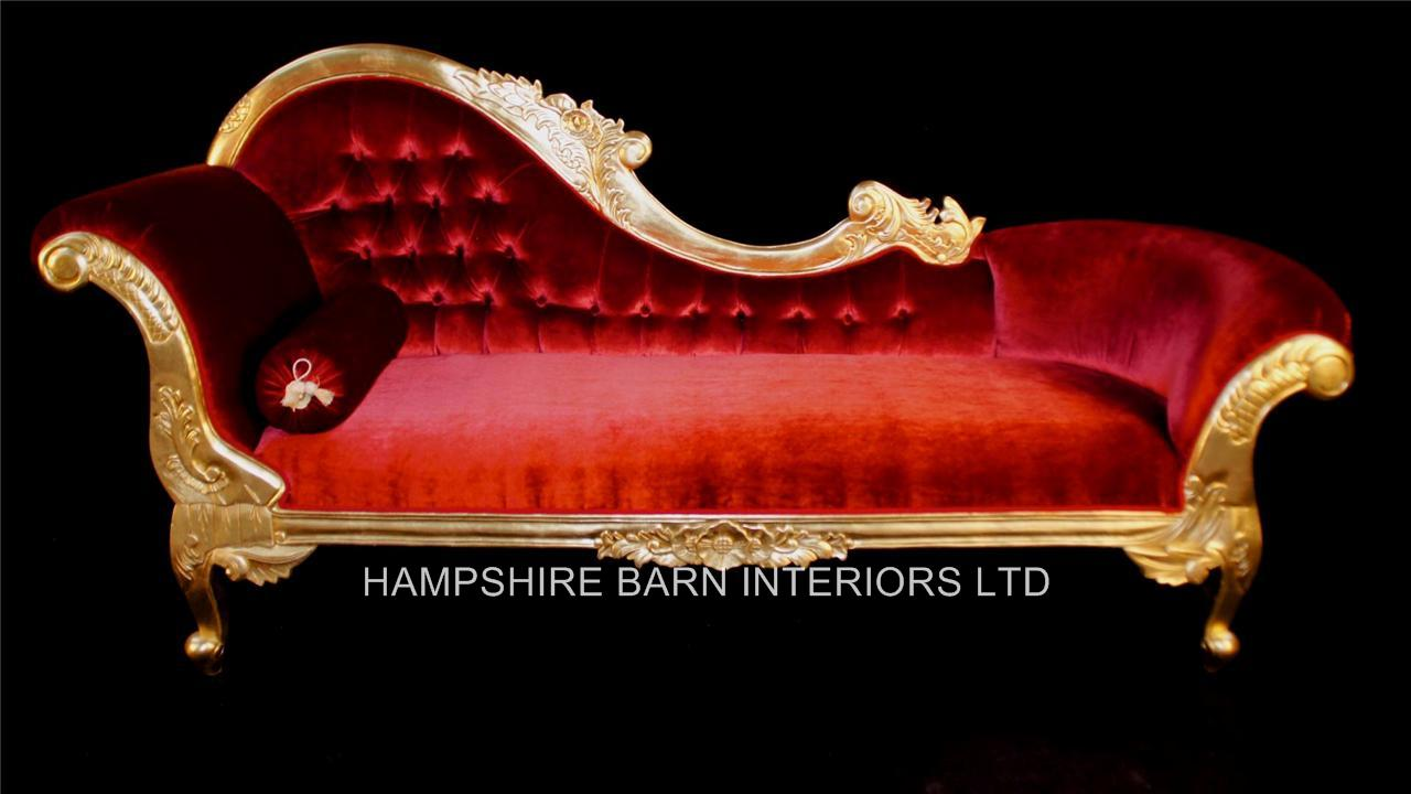 Large Red Amp Gold Leaf Chaise Longue Lounge Sofa French