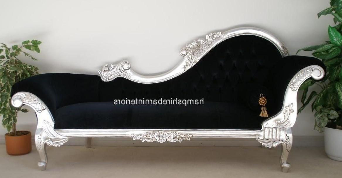 Large french style silver black chaise longue lounge sofa for Black and silver chaise lounge