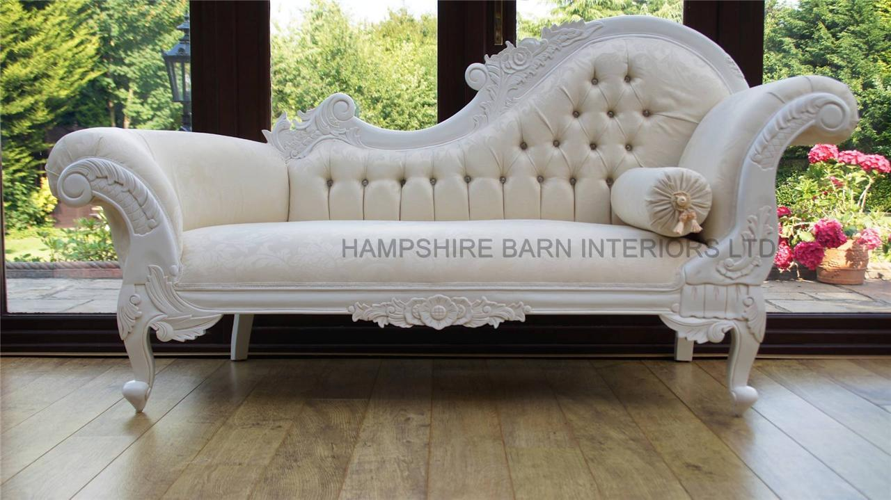 Ornate chaise longue antique white ivory cream carved for Chaise longue salon