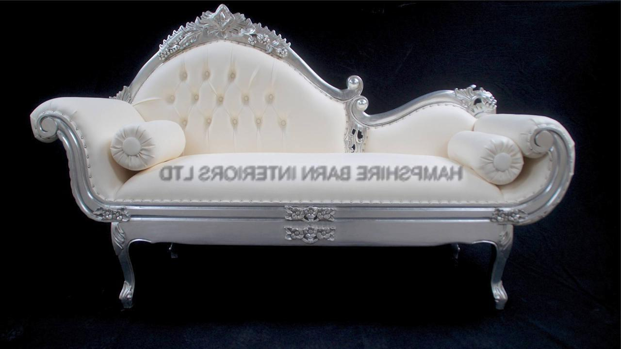 Amberley ornate chaise silver leaf white faux leather for Chaise diamante