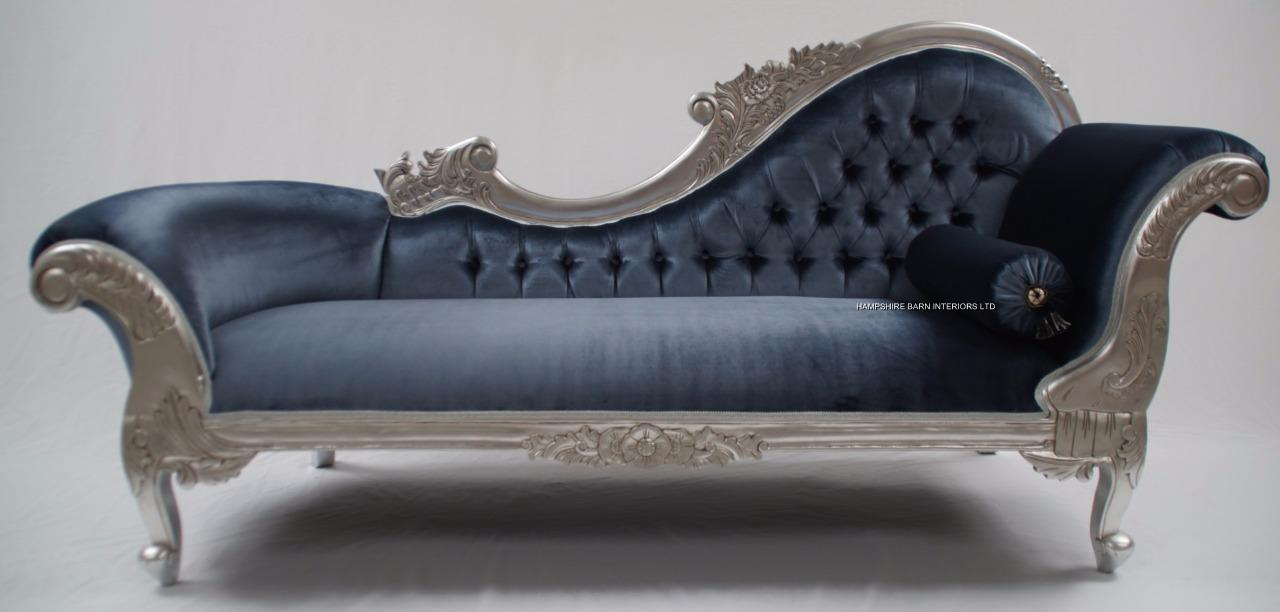 Chaise longue silver leaf blue grey velvet lounge sofa for Blue chaise longue